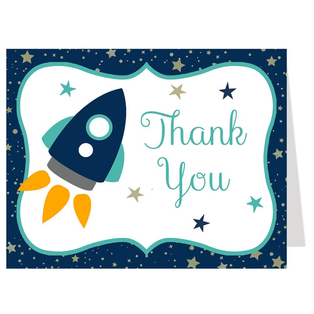 Rocket Ship, Baby Shower Thank You Cards, Navy, Aqua, Thank You Cards, Space, Stars, Set of 50 Printed Folding Thank You Notes with White Envelopes