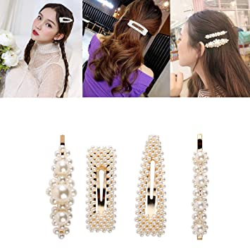 00f350bbd29f4 Amazon.com : Pearls Hair Clips for Girls Women Wedding Bridal, 4 Pack Gold  Different Shapes Clip Hair Accessories for Women Gifts By LYDZTION : Beauty