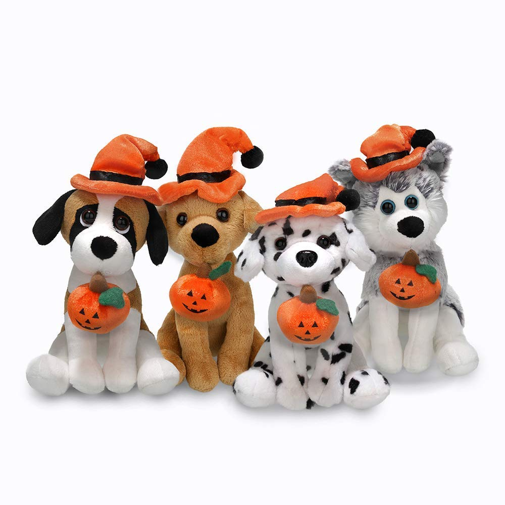 Plushland Halloween Pawpals 8 inches Puppy Dog Plush Stuffed Toy Comes with Hat and Halloween Jack O Lantern - Pumpkin for Kids on This Holiday (Dalmatian)