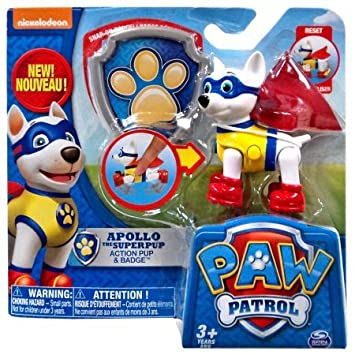 Paw Patrol Action Pack Pup And Badge Apollo The Superpup Amazon
