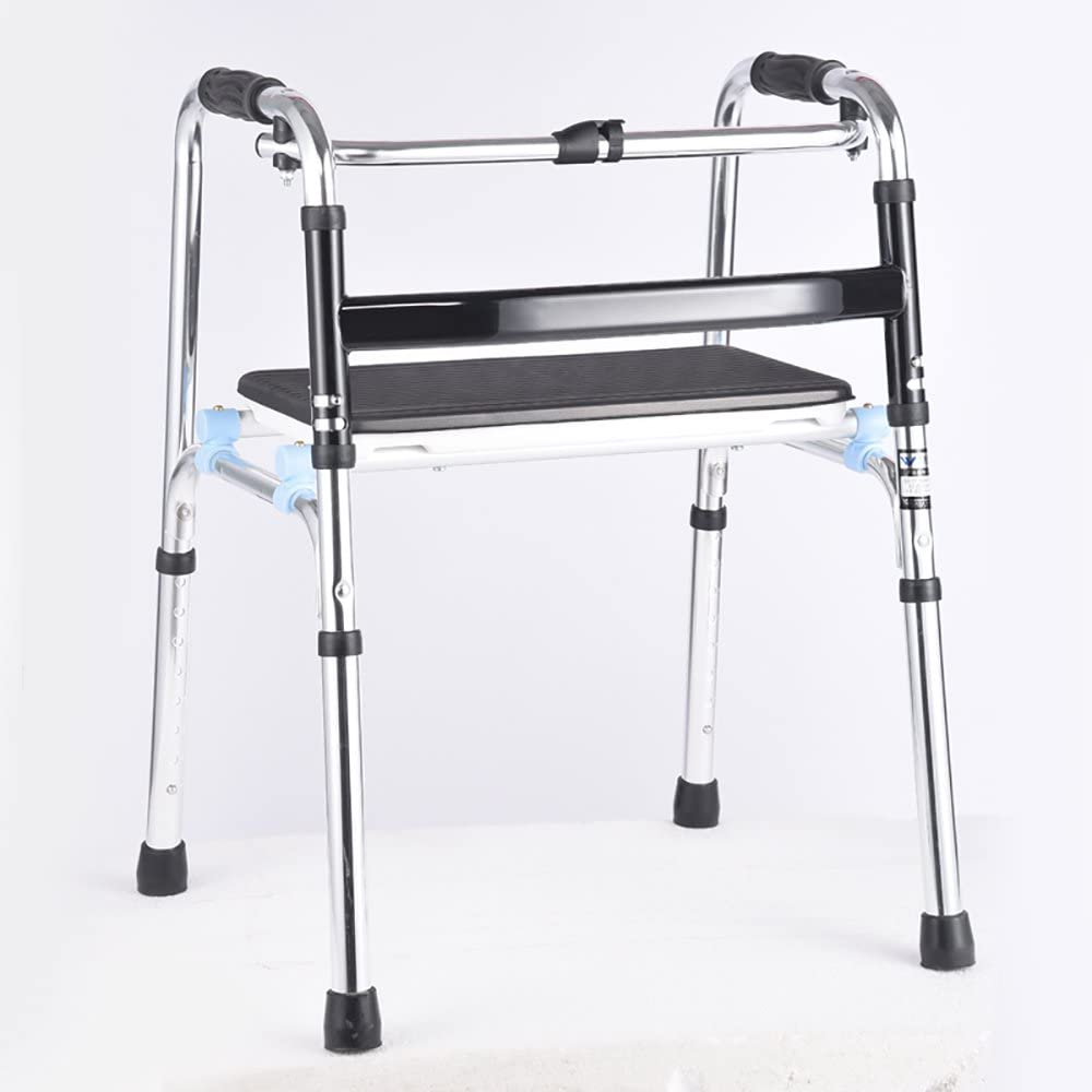 Bar-sam Li@ Seniors Walker/Handrail Support/Old Man Walker/Walking Assistance/Walking Stick Chair with Seat Collapsible Adjustable Height Sier:55×48×(69-89) cm 61BrBOucZILSL1000_