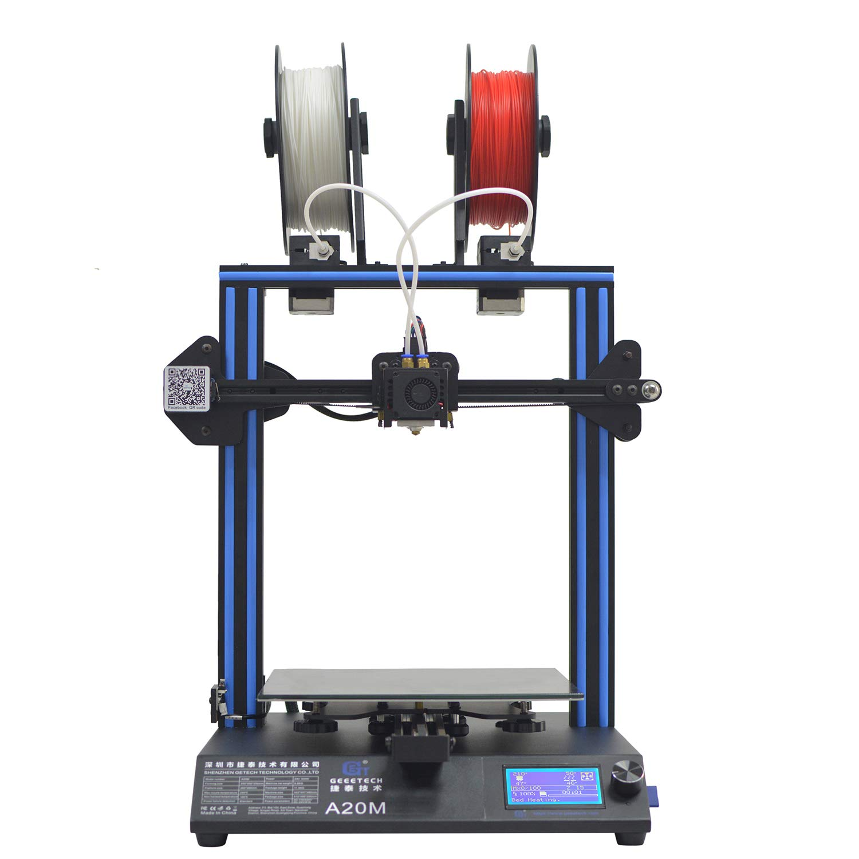 GEEETECH A20M 3D-Drucker mit Mix-Color-Druck,Integrierte Gebä udebasis,Dual-Extruder-Design, Filament-Detektor und Break-Resuming-Funktion, Prusa I3 schnell-Montage DIY-Kit.