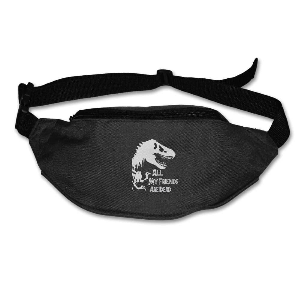 Ada Kitto All My Friends Are Dead Dinosaur Mens&Womens Lightweight Travel Waist Bag For Running And Cycling Black One Size