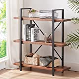 HSH Solid Wood Bookshelf, 3 Tier Rustic Vintage Industrial Etagere Bookcase, Open Metal Farmhouse Book Shelf, Distressed Brow