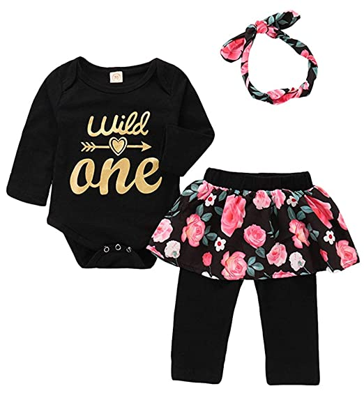 d028ddab6da Amazon.com  Baby Girls Birthday Clothes Baby Girls Floral Pant Outfit Set  Wild One 3Pcs Vest Skirt with Headband  Clothing