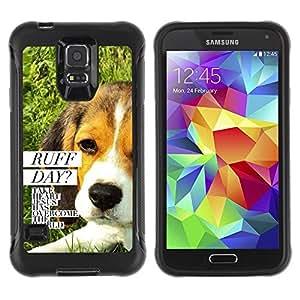 Suave TPU Caso Carcasa de Caucho Funda para Samsung Galaxy S5 SM-G900 / BIBLE Ruff Day Jesus Dog / STRONG