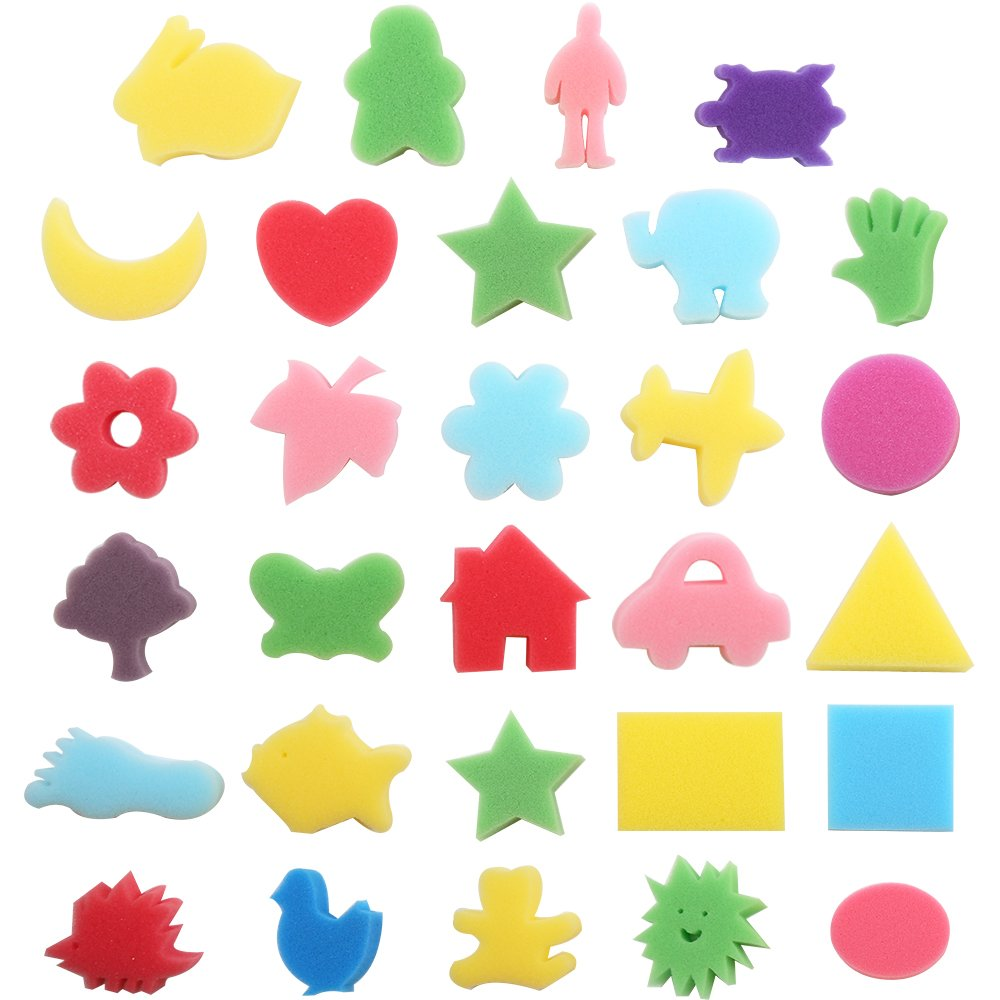 Purture 30pcs Sponge Painting Shapes Painting Craft Sponge for Toddlers Assorted Pattern Early Learning Sponge for Kids Shipping by FBA LEOBRO 4336955176