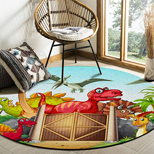 Libaoge Round Area Rugs 6 ft Diameter Indoor Aloha Mats Cute Anime Dinosaur Coconut Palm Tree Tropical Themed Soft Living Room Bedroom Unique Carpet Woman Yoga Mat Home Decor (Patio Palm Custom Springs Cushions)