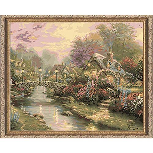 Plaid Creates Paint by Number Kit (16 by 20-Inch), 22040 Lamplight Bridge