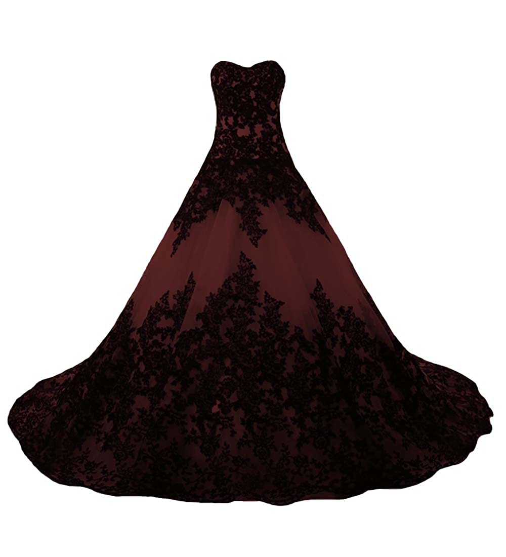 O.D.W Lange Spitze Vintage Brautkleider Frauen Gotisch Hochzeitskleider
