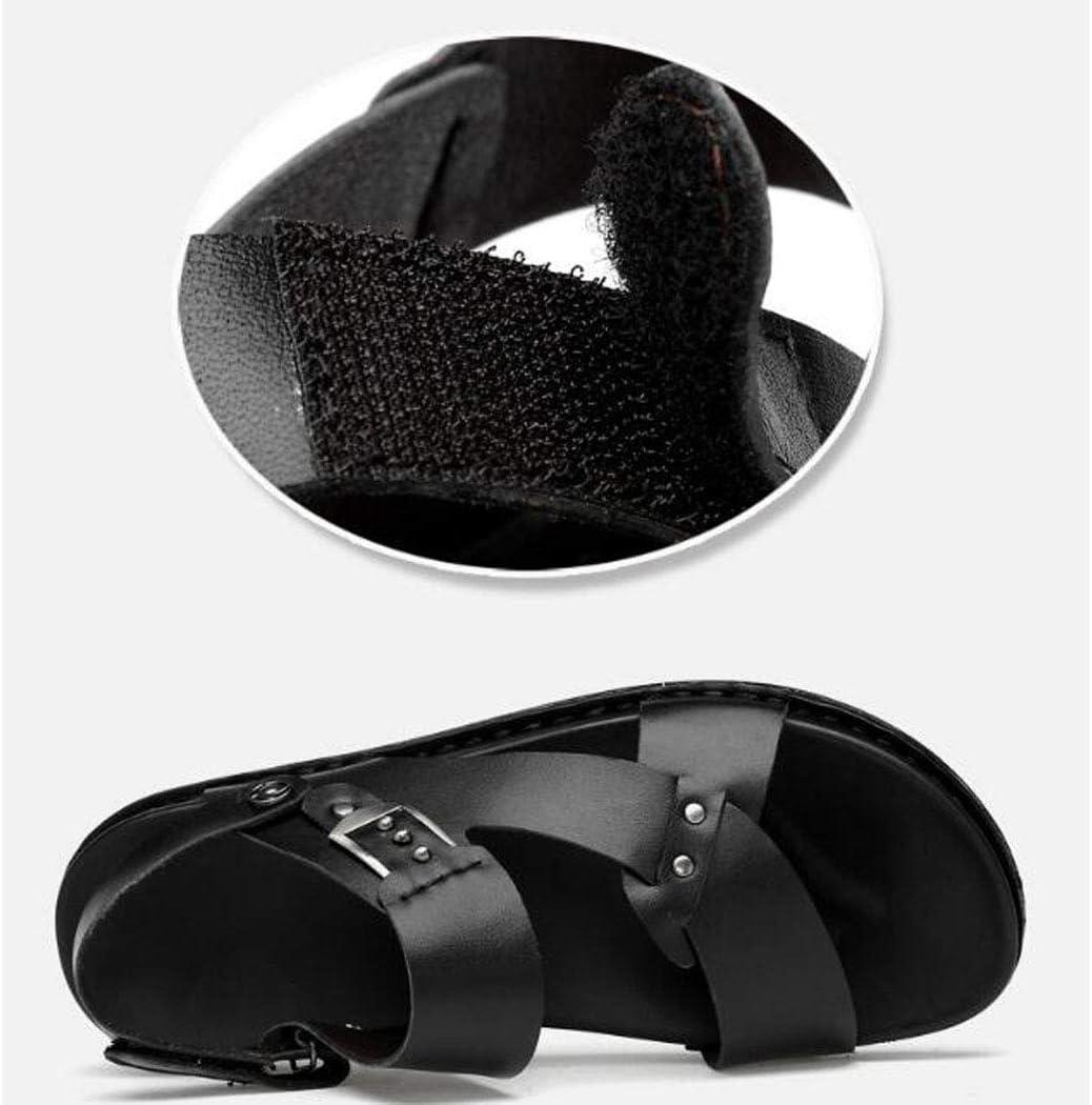 MALPYQ Zomer nieuwe lederen sandalen toplaag rundleer ademende strand schoenen zachte onderkant casual sandalen Zwart