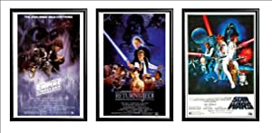 FRAMED Set Of 3 - Star Wars Original Classics Movie 24x36 Poster in Black Detail Finish Crafted in USA