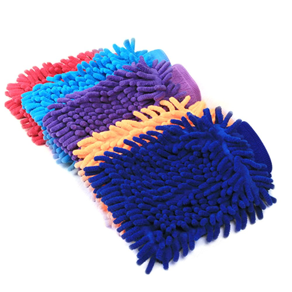 Iuhan New Easy Microfiber Car Kitchen Household Wash Washing Cleaning Glove Mit (Color Random) (Multicolor)