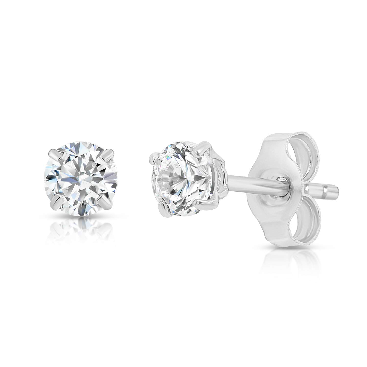14k White Gold Solitaire Round Cubic Zirconia Stud Earrings with Gold butterfly Pushbacks (4mm) by Tilo Jewelry