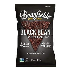 Beanfields Bean Chips, High Protein and Fiber, Gluten Free, Vegan Snack, Black Bean, 5.5 Ounce (Pack of 6)