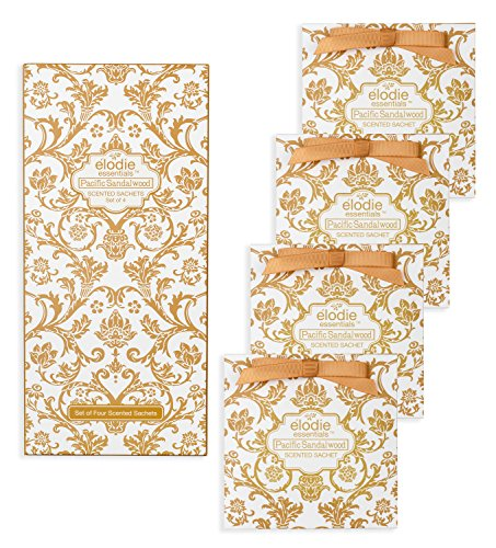 (Pacific Sandalwood Scented Sachets - Set of 4 Large Gift Boxed Sachets for Drawers and Closets - Royal Damask)
