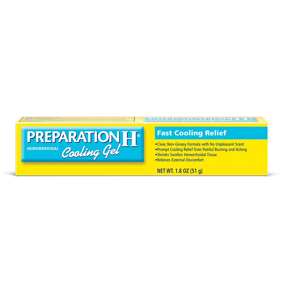 Preparation H (1.8 Ounce, 1 Tube per Box) Hemorrhoid Symptom Treatment Cooling Gel, Fast Discomfort Relief with Vitamin E and Aloe, Tube