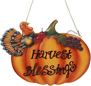 "Joliyoou Thanksgiving Hanging Decorations, 10"" x 12"" Harvest Blessings Metal Pumpkin Door Hanger, Front Door Harvest Blessings Plaque, Fall Door Sign, Pumpkin Decoration Indoor Outdoor for Autumn Harvest"