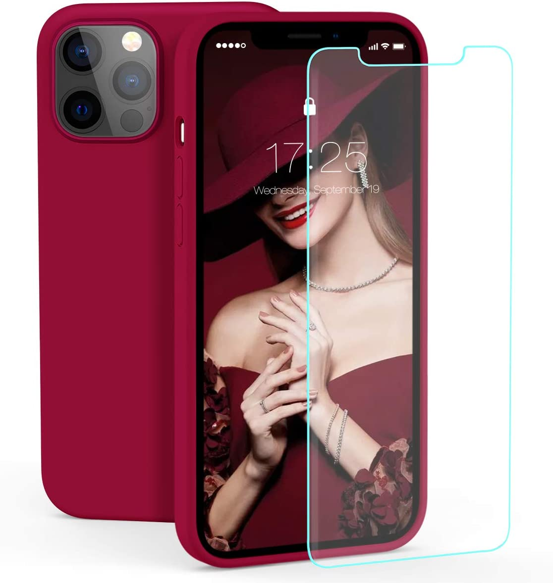 zelaxy Case Compatible with iPhone 12 / iPhone 12 Pro, Liquid Silicone Rubber Gel Case with Screen Protector(Wine Red)