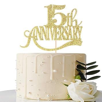 Decoración para tarta con purpurina dorada para 15 ...