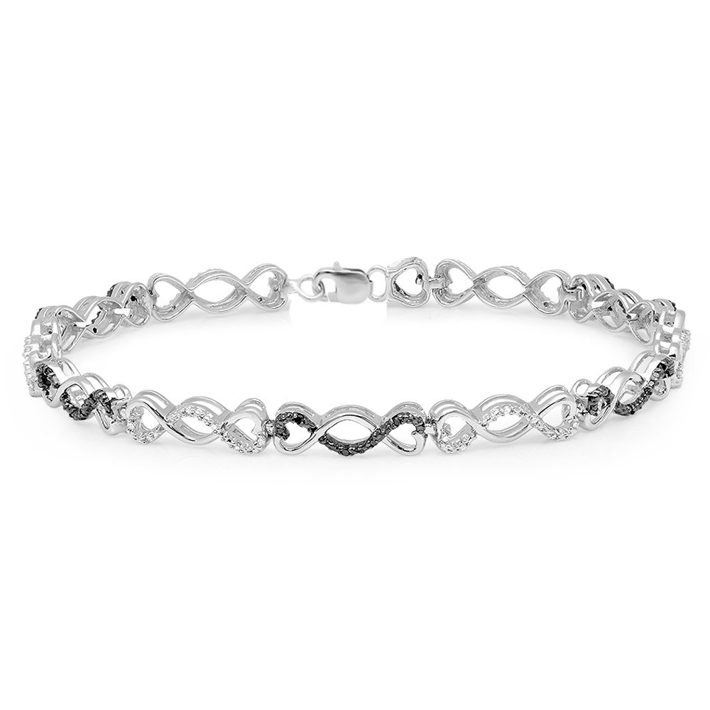 0.30 Carat (ctw) Sterling Silver Round Cut Black and White Diamond Infinity Tennis Link Bracelet 1/3 CT
