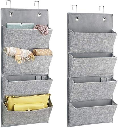 el ba/ño o la cocina mDesign Juego de 2 baldas organizadoras Estantes met/álicos para el armario del dormitorio gris claro Pr/ácticos organizadores de armarios para ordenar la ropa