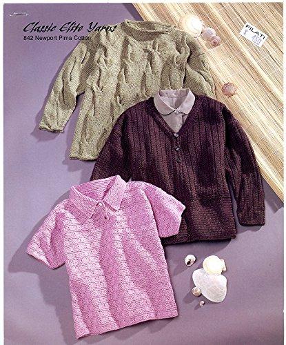 Elite Classic Cardigan (Classic Elite Yarns Knitting Pattern 842 Newport Pima Cotton - 3 Designs)