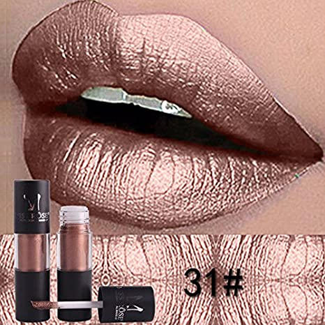 19080e09f Buy 31   Metallic Lipstick MISS ROSE Make up Lips Gloss Waterproof  Moisturizer Liquid Lipstick Nutritious Easy To Makeup LipGloss Online at Low  Prices in ...