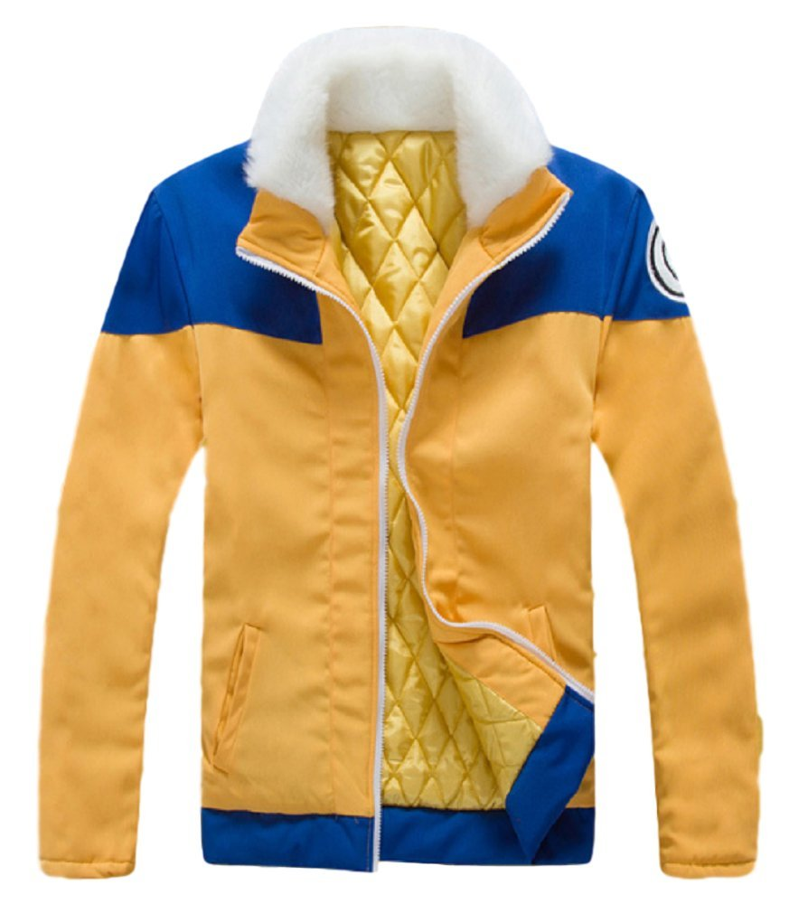 GK-O Naruto Uzumaki Naruto Cosplay Costume Thick Jacket Hoodie Yellow Blue Medium