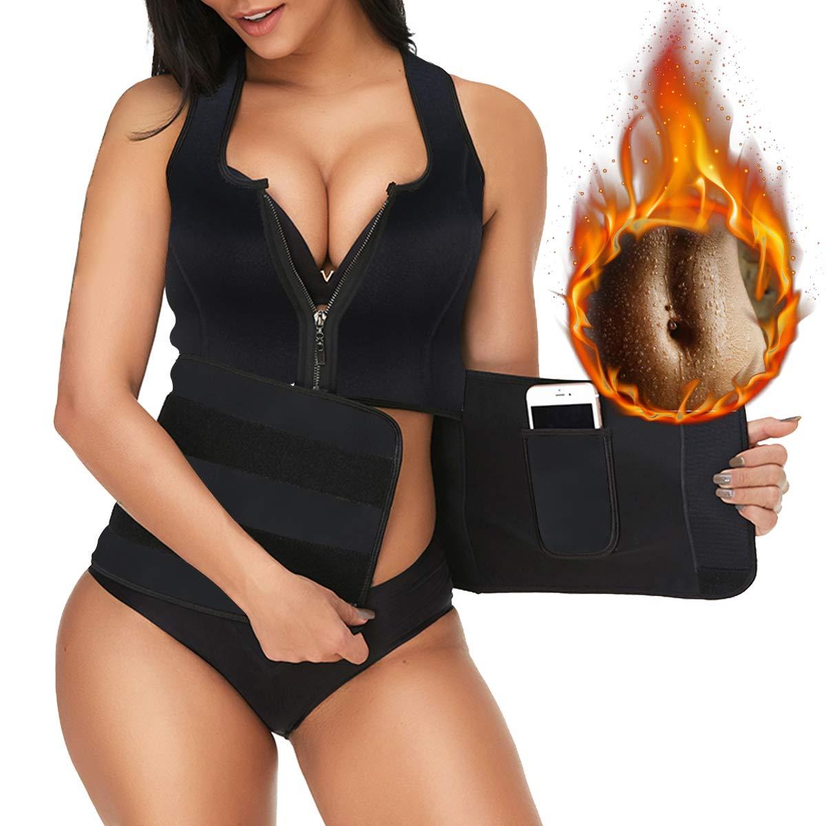 1black Neoprene Sauna Suit Tank Top Vest for Women, Slimerence, Latex Sport Girdle Waist Trainer Corset