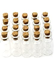 Yalulu Lot de 20 6-20ml Petites Bouteilles en verre transparent avec bouchon en liège jolie fiole flacon avec cork Mini bouteille décoratives pour parfums liquides sables colorés des gourmandises miniatures
