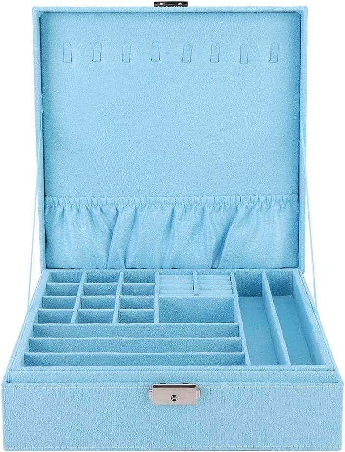 Mumusuki Precio de Organizador de exhibición de Caja de Almacenamiento de joyería de Gran Capacidad de Doble Capa portátil(Azul)