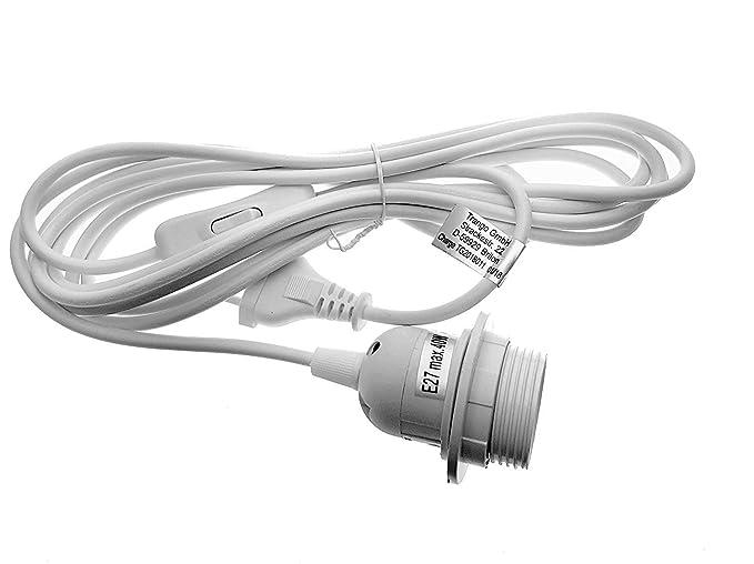 Portalámparas E27 E27 de m cable rosca Blanco suspensión interruptor con con alimentación Trango Anillo 5 de 3 Lámpara Interruptor – – Casquillo Color 29HbWIEDYe