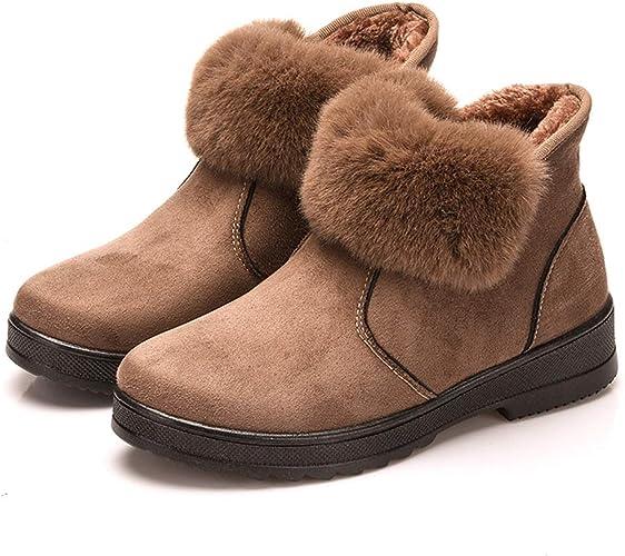 Hishoes Femme Bottes de Neige Daim Boots Hiver Chaussures De Neige Filles Bottines Fourrées Chaudes Boots Antidérapante Plates Bottines Automne 34 40
