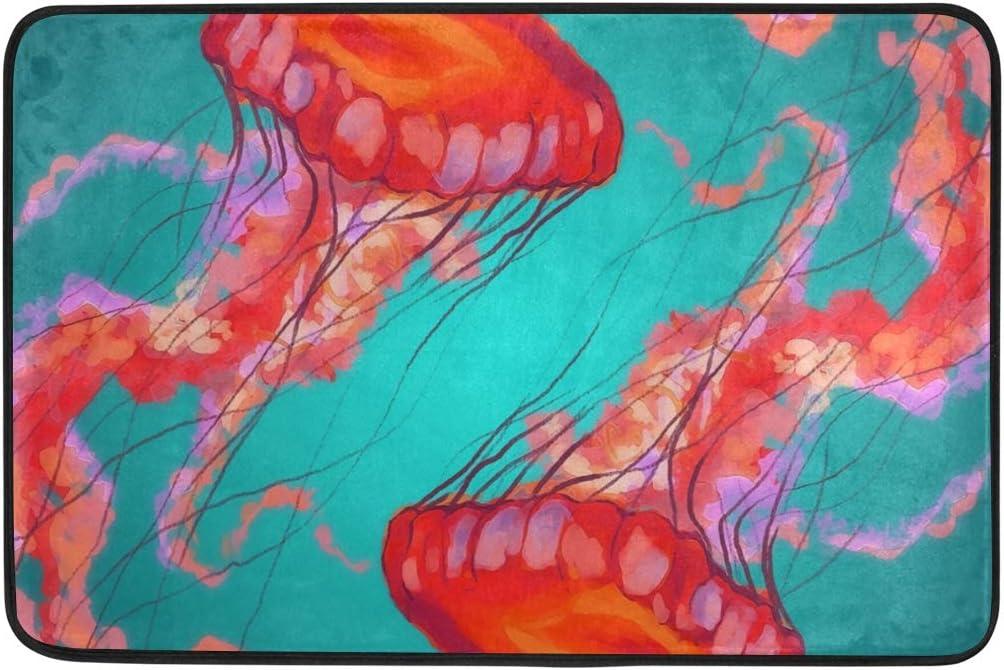 Amazon Com Doormat Jellyfish Abstract Bath Rugs Non Slip Entrance Rug Welcome Door Mats Hcmusic 23 6x15 7 Kitchen Dining