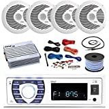 16-25 Bay Boat: Pyle Bluetooth Marine Stereo Receiver, 4 x Pyle 150W 6.5 Marine Speakers (White), Pyle 4 Channel Waterproof Amplifier, Pyle Amp Install Kit, 18 Gauge 50 FT Speaker Wire, Antenna