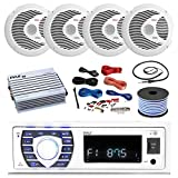 16-25' Bay Boat: Pyle Bluetooth Marine Stereo Receiver, 4 x Pyle 150W 6.5'' Marine Speakers (White), Pyle 4 Channel Waterproof Amplifier, Pyle Amp Install Kit, 18 Gauge 50 FT Speaker Wire, Antenna