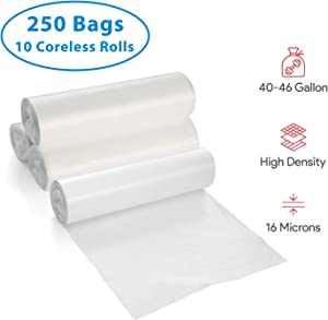 40-46 Gallon Clear Garbage Can Liners, 250 Count - Large Trash Can Liners - High Density, Thin, Lightweight, 16 Microns - For Office, Home, Hospital Wastebaskets - 10 Coreless Rolls