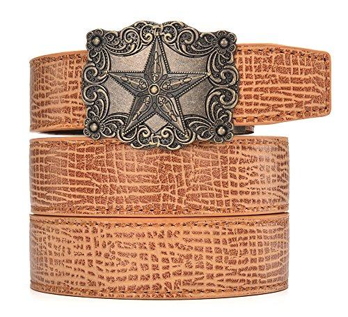 Star Cool Belt Buckle - Autolock Men Western Buckle Ratchet Leather Belt Valentine's Day Gift (Texas 3, waist 45-55)