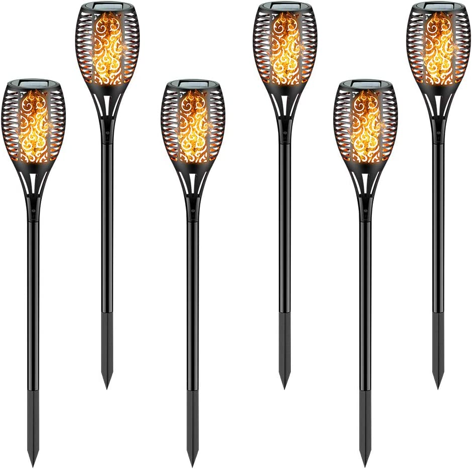 zkee Solar Torch Light with Flickering Flame,Fire Effect Lantern,Dancing Flame,Solar Garden Light, Dust to Dawn,Outdoor Waterproof Garden Decoration, Solar Powered Stick Light (Set of 6)