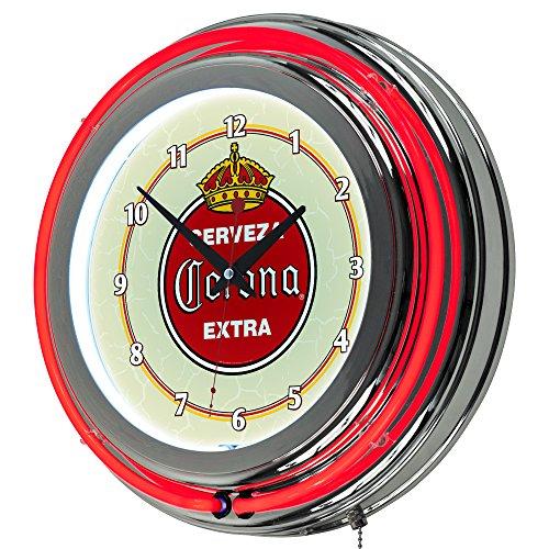 Trademark Gameroom Vintage Corona Chrome Double Rung Neon Clock