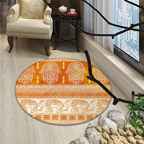 Hamsa small round rug Carpet Old Fashioned Traditional Borders with Ornate Elephants Geometric Tribal FiguresOriental Floor and Carpets Orange White