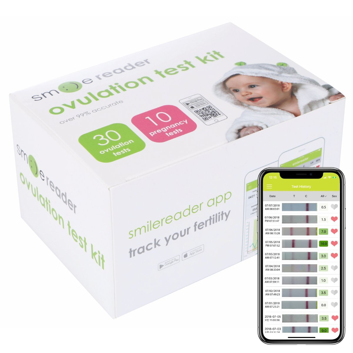 SmileReader Ovulation Test Kit – 30-Pack Accurate Ovulation Strips – User-Friendly and Reliable – Set Includes 10 Pregnancy Tests – Bonus Free App for iOS and Android