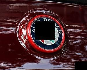 Eppar New Decorative Front Rear Logo Cover for ALFA Romeo Giulia 2016-2019 (Rear, Red)