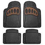 wood grain car mats - FH Group Heavy Duty Tall Channel F11310BLACK Rubber Floor Mat Black with Brown Pattern Full Set Trim to Fit