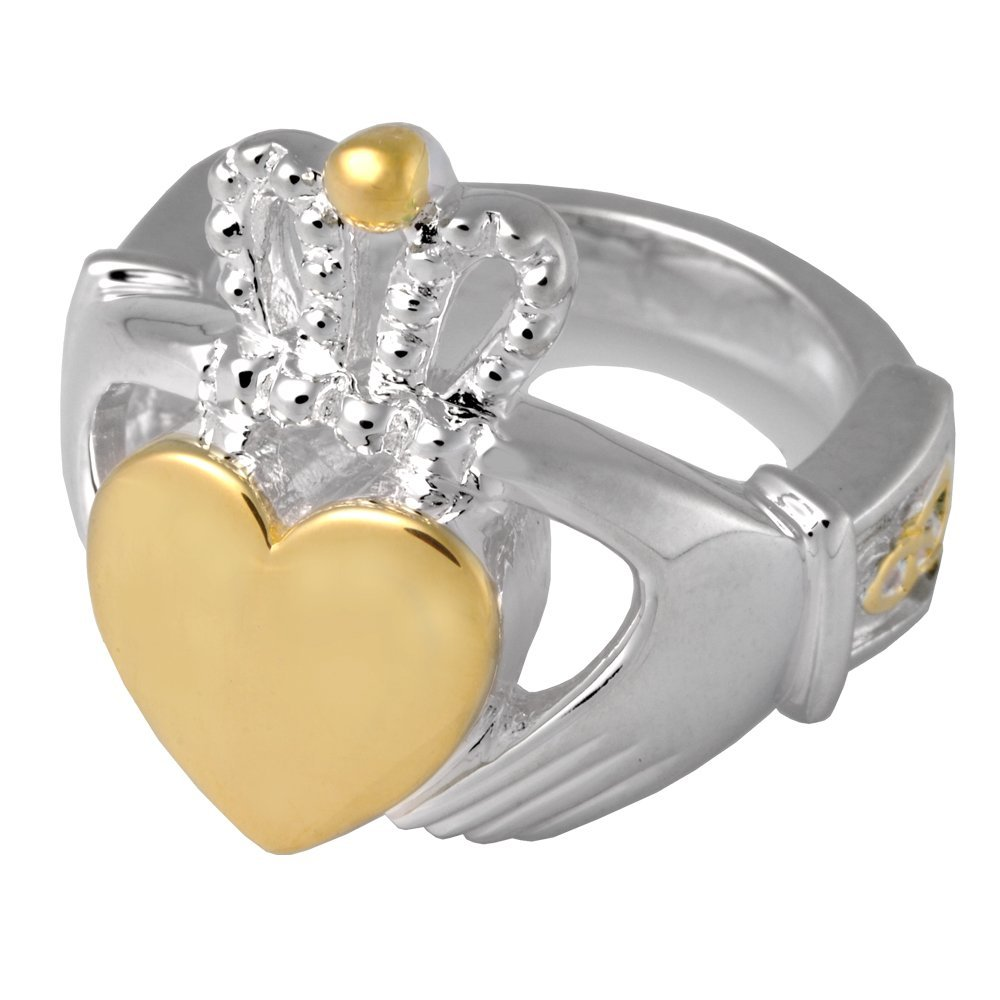 Memorial Gallery 2015S-7 Claddagh Ring Sterling Silver Two Tone Cremation Pet Jewelry, Size 7