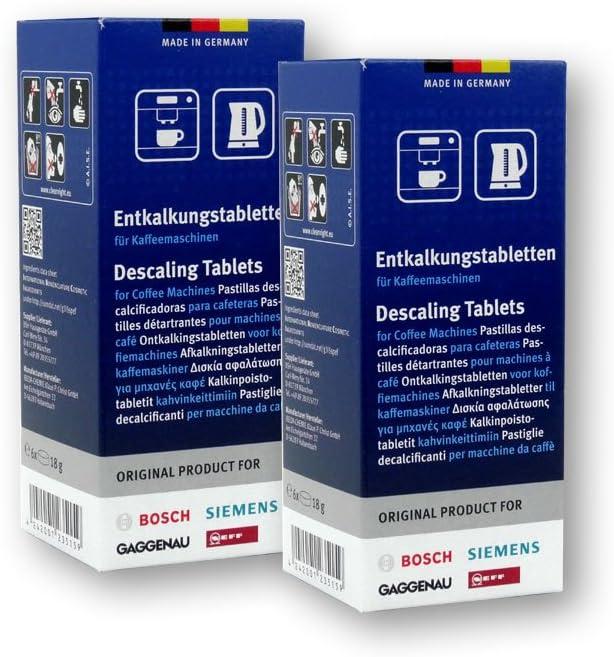 Bosch - Pastillas de descalcificación para cafetera y hervidor (2 ...