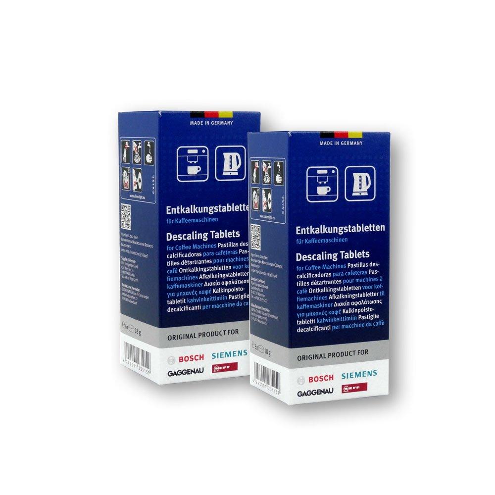 Bosch - Pastillas de descalcificación para cafetera y hervidor (2 paquetes con 6 pastillas cada uno)