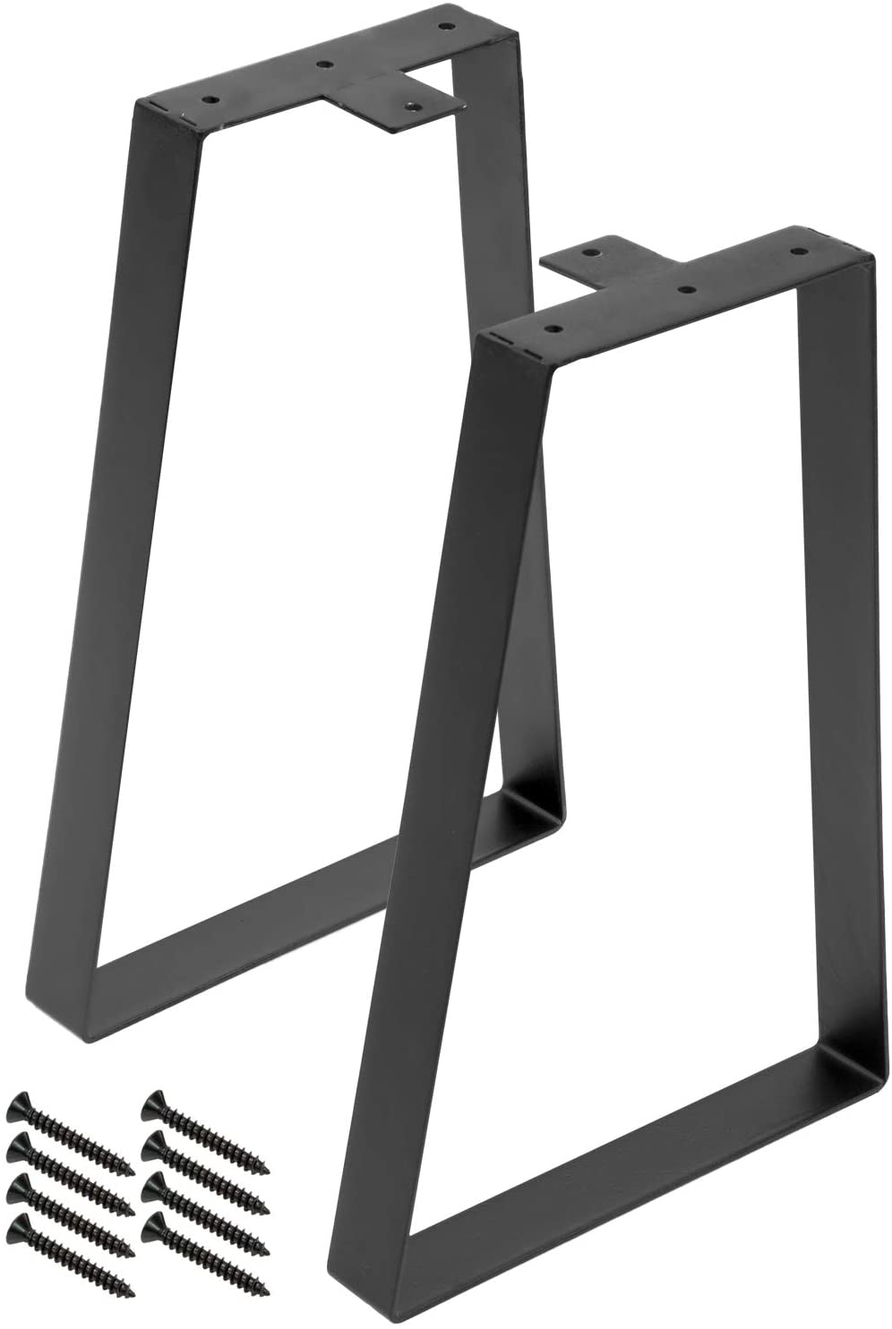 """Sorbus Trapezoid Table Legs, 16"""" Tall Furniture Legs for DIY Coffee Table, Desk, Bench, Modern Mid-Century, Heavy Duty Black Metal, Set of 2 (16 Inch)"""