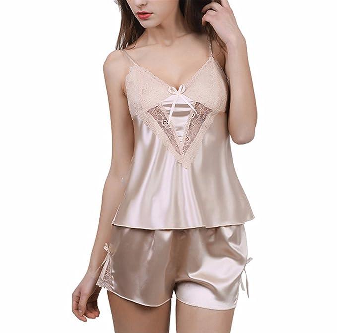 Yall Pijama Mujer Imitación Seda Lace Shorts Traje Corto Eslinga,Xxl,Xiabin
